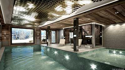 Creation of 3D rendering of a luxurious pool in the mountains.