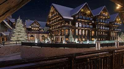 Photo d'un lot de chalet de nuit en 3D à Oron, Suisse.