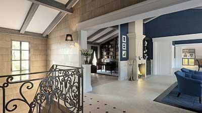 Photo 3D d'un projet immobilier de salon dans une villa de luxe à l'Île-de-Ré.