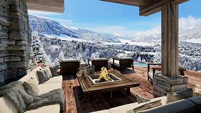 Photo 3D, perspective en image de synthèse d'une terrasse de luxe d'un chalet à la Montagne.