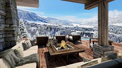 3D Photo, perspective made from computer generated images of a luxurious terrace of a chalet in the mountains.