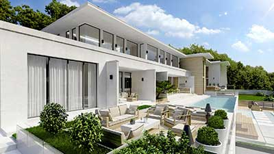 3D Photo of a luxurious villa made from computer generated images.