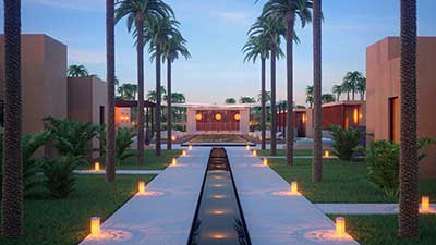 3D Rendering of the entrance of a luxurious villa in Morocco.