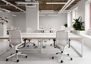 Local Valentinstudio constitué de plusieurs bureaux design blancs et de plantes