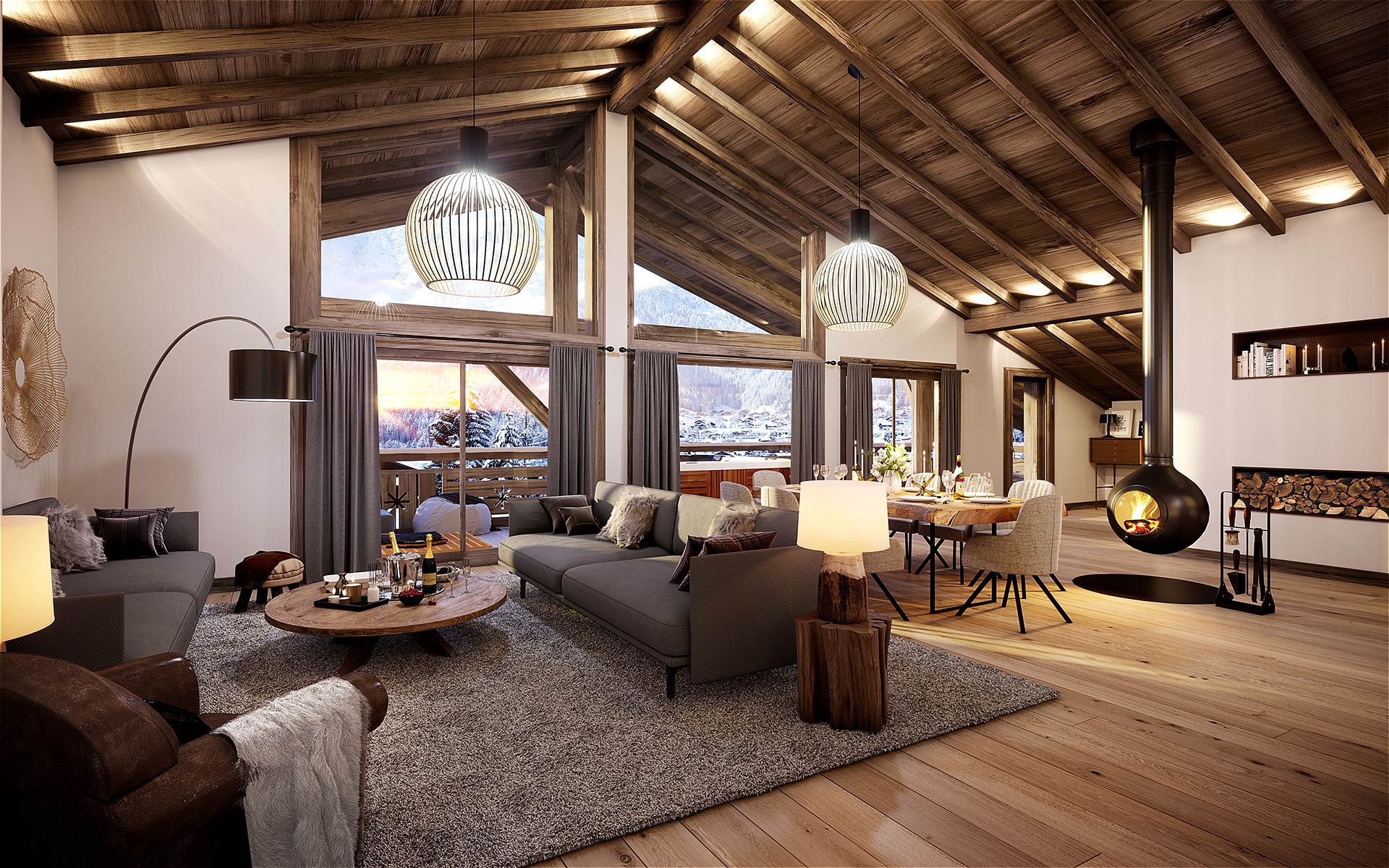 3D interior render of a luxury chalet apartment