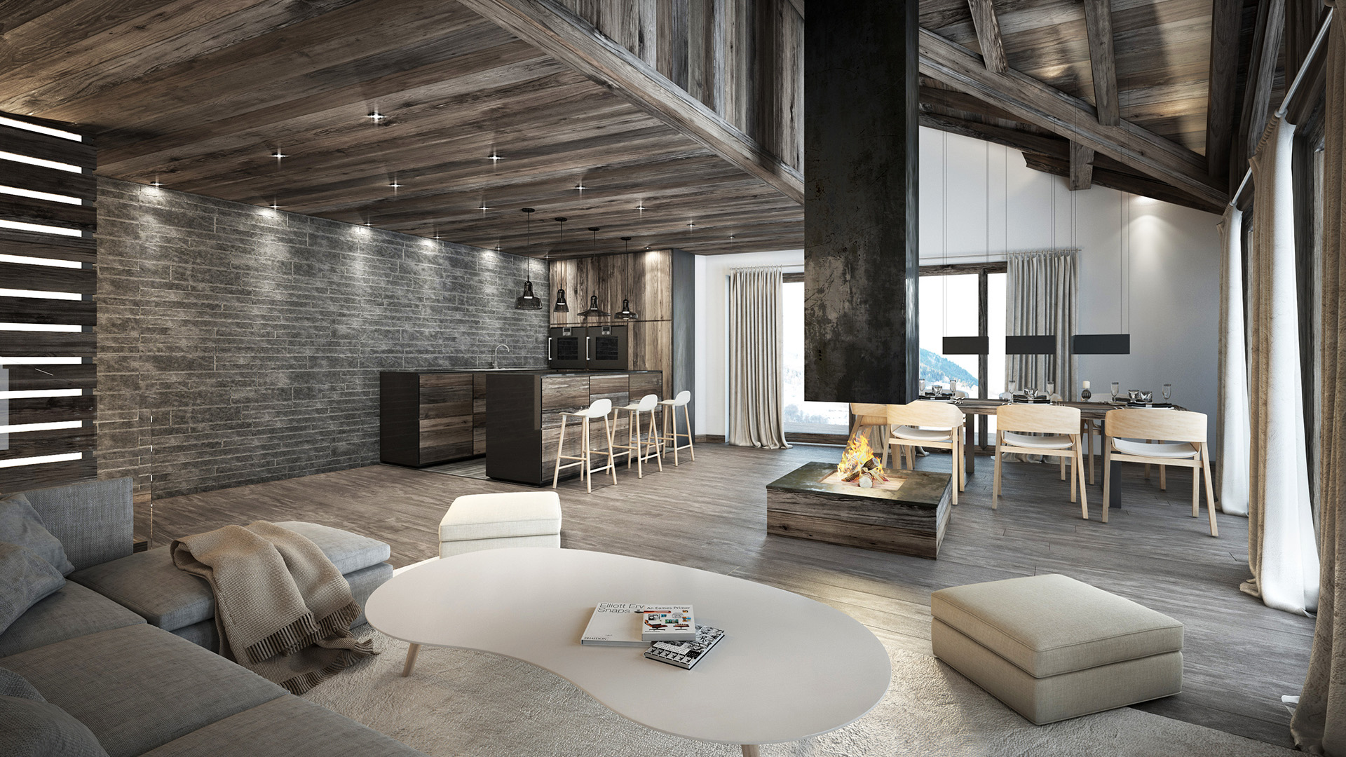 Creation of 3D still images of a luxurious apartment for the real estate promotion of the property.