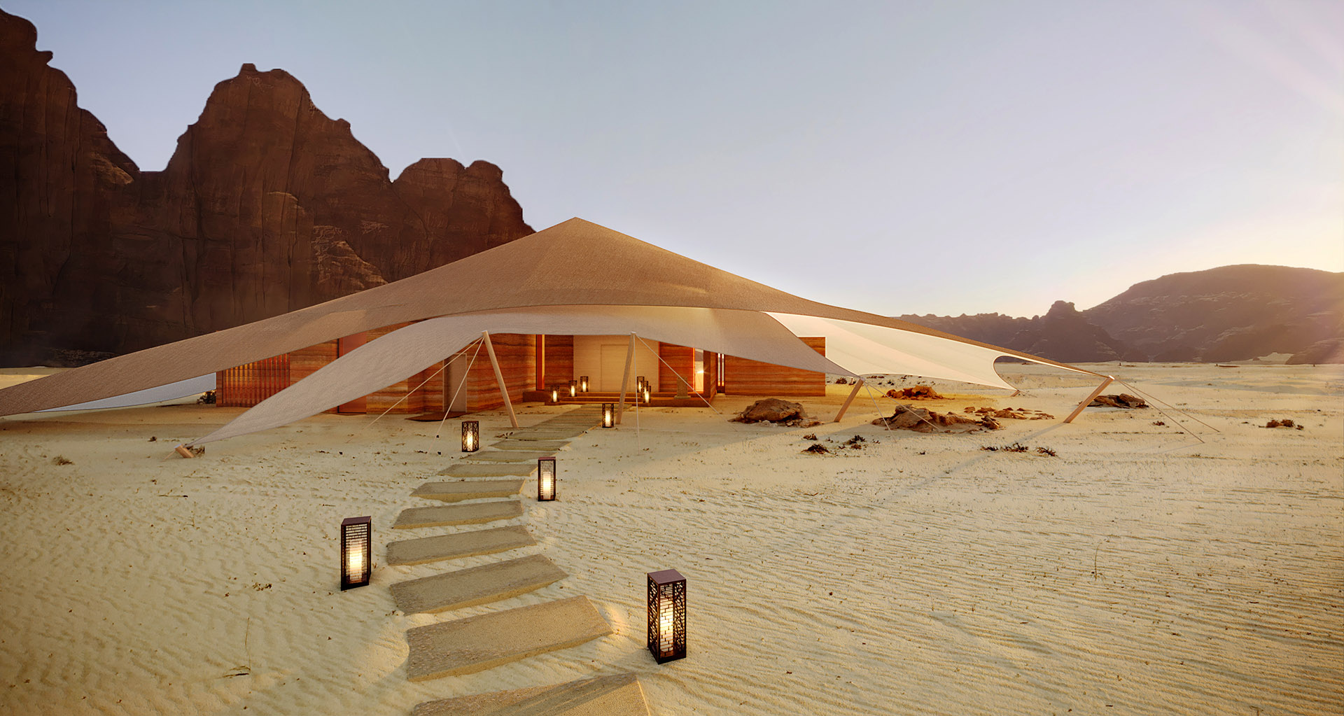 3D Graphism of a luxury tented resort in Morocco desert