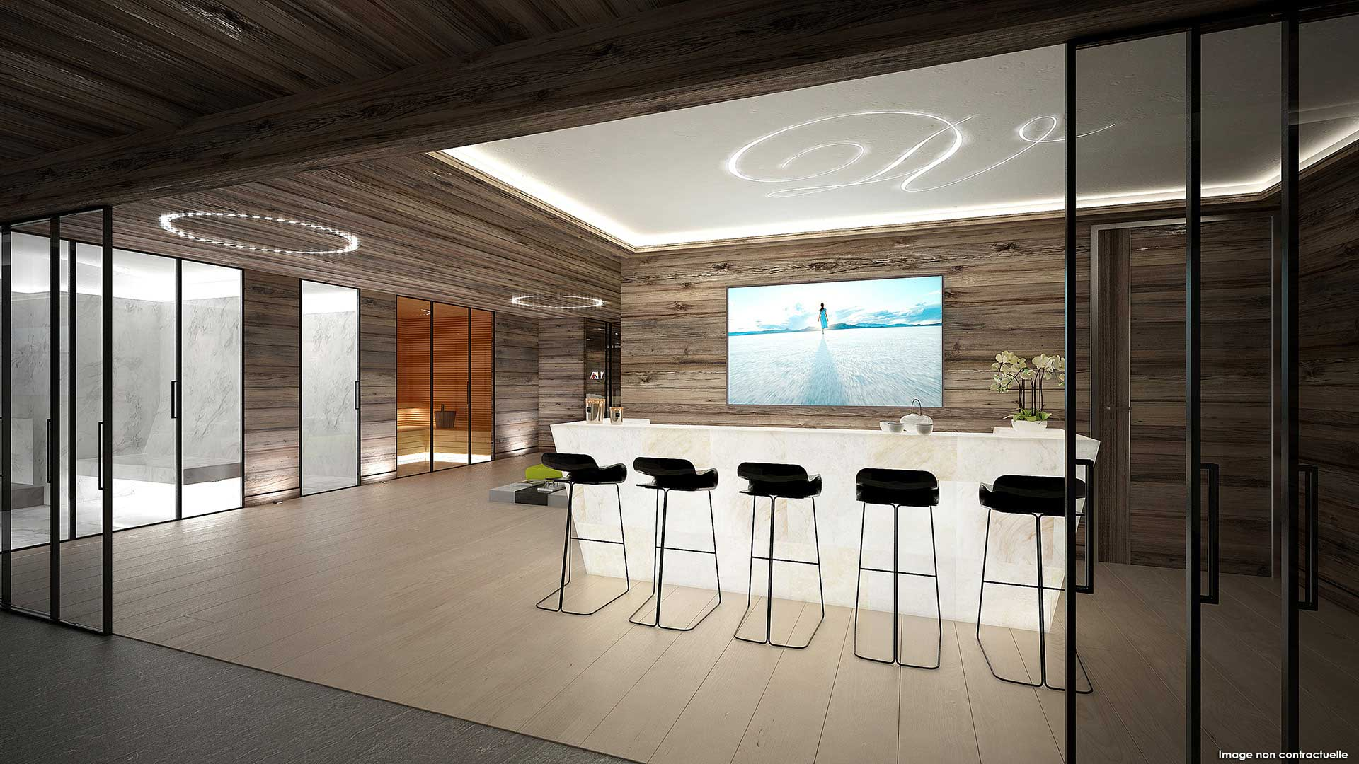 Creation of a 3D perspective of the bar of a luxurious chalet.