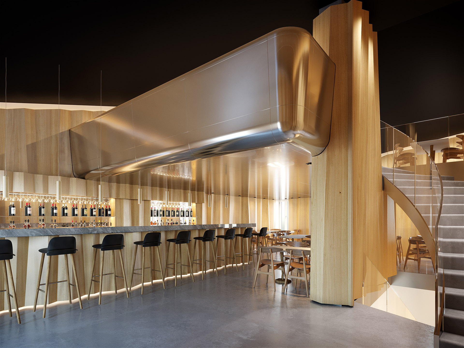 3D rendering of a luxury bar restaurant