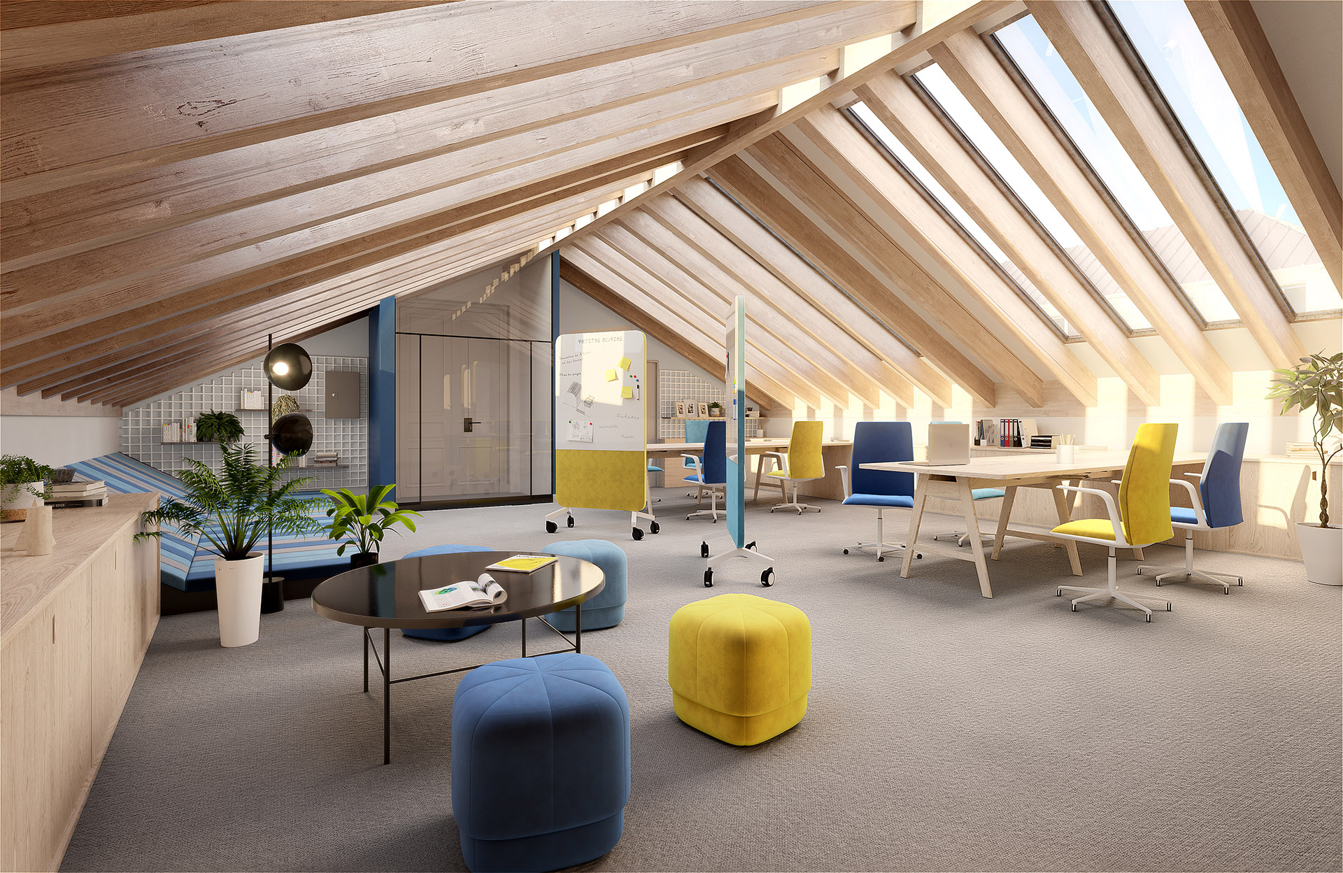 3D visualization of modern and friendly office interiors