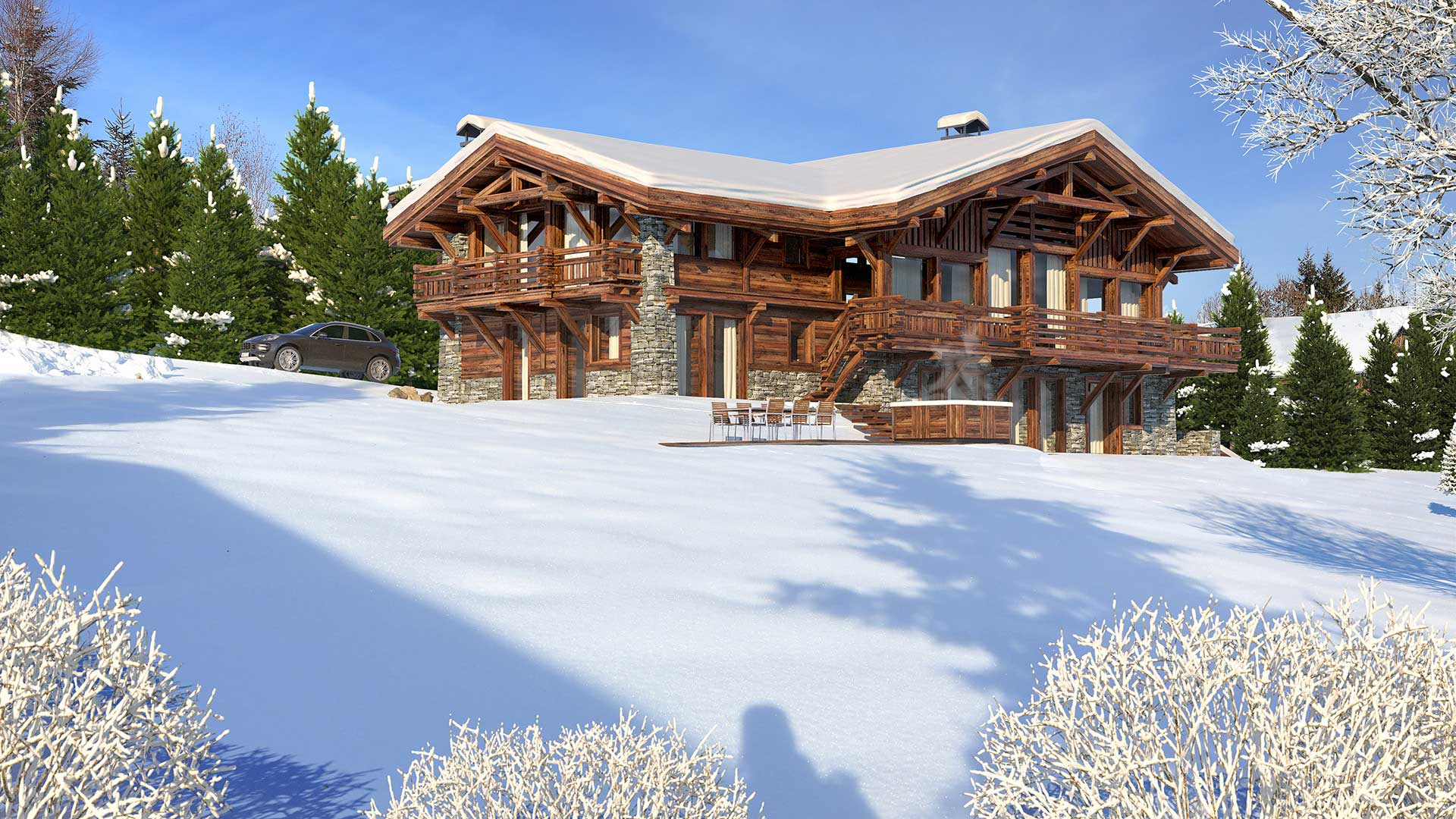 3D Design of a real estate property : Creation of a luxurious chalet made from computer generated images.