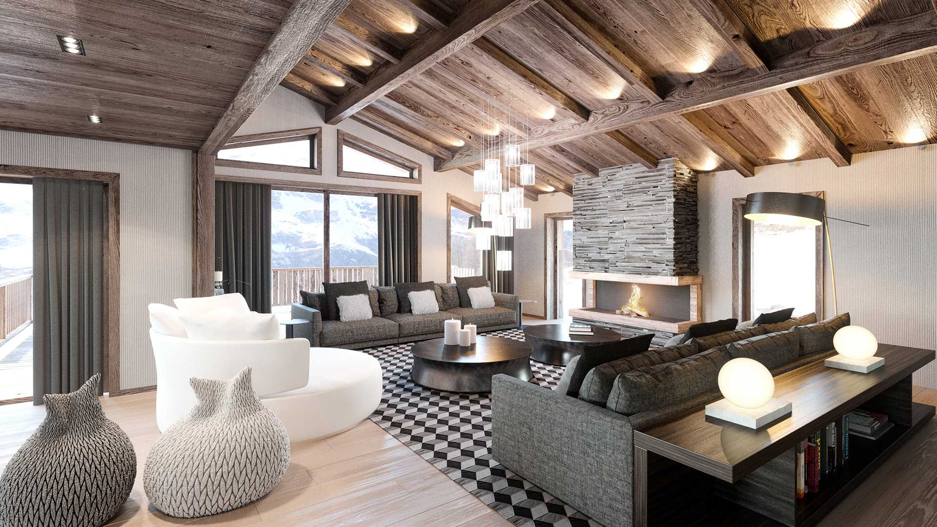 3D Living room of a luxurious chalet created by the 3D studio Valentin Studio.