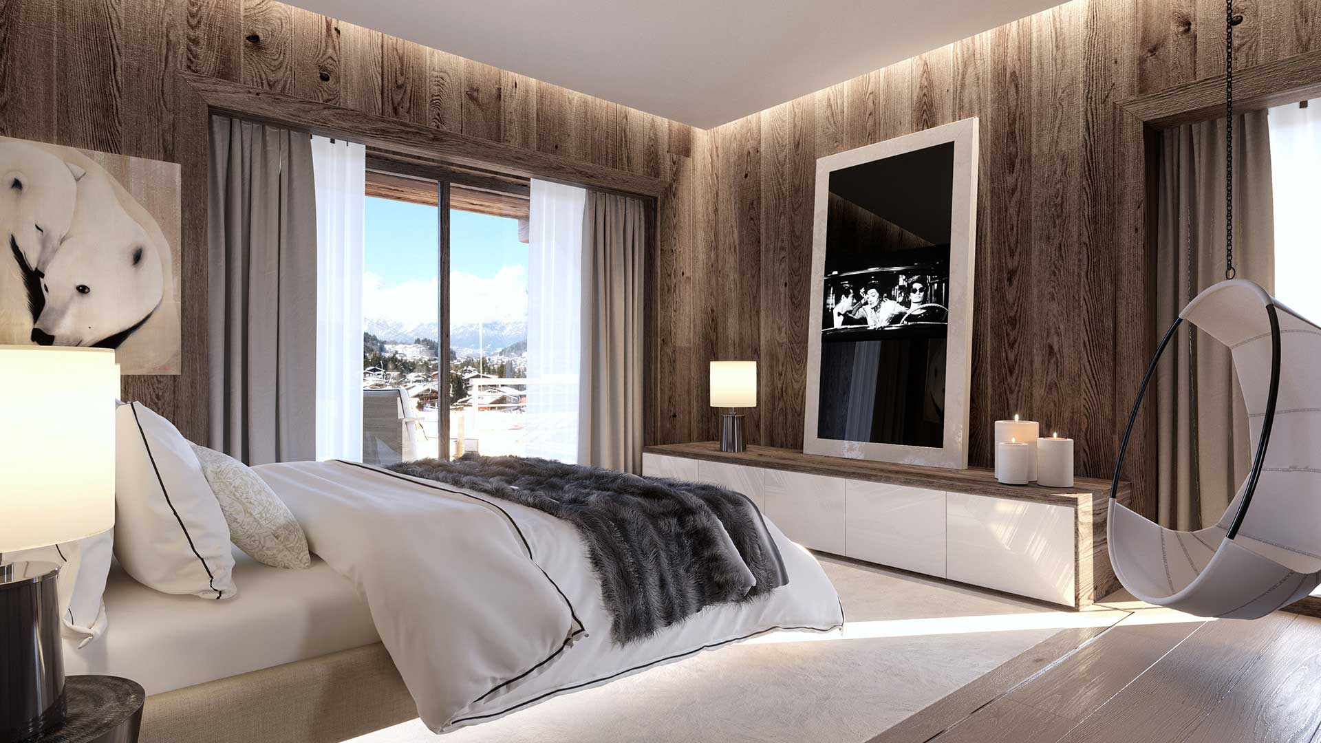 3D Perspective of a luxurious chalet, creation 3D images renderings.