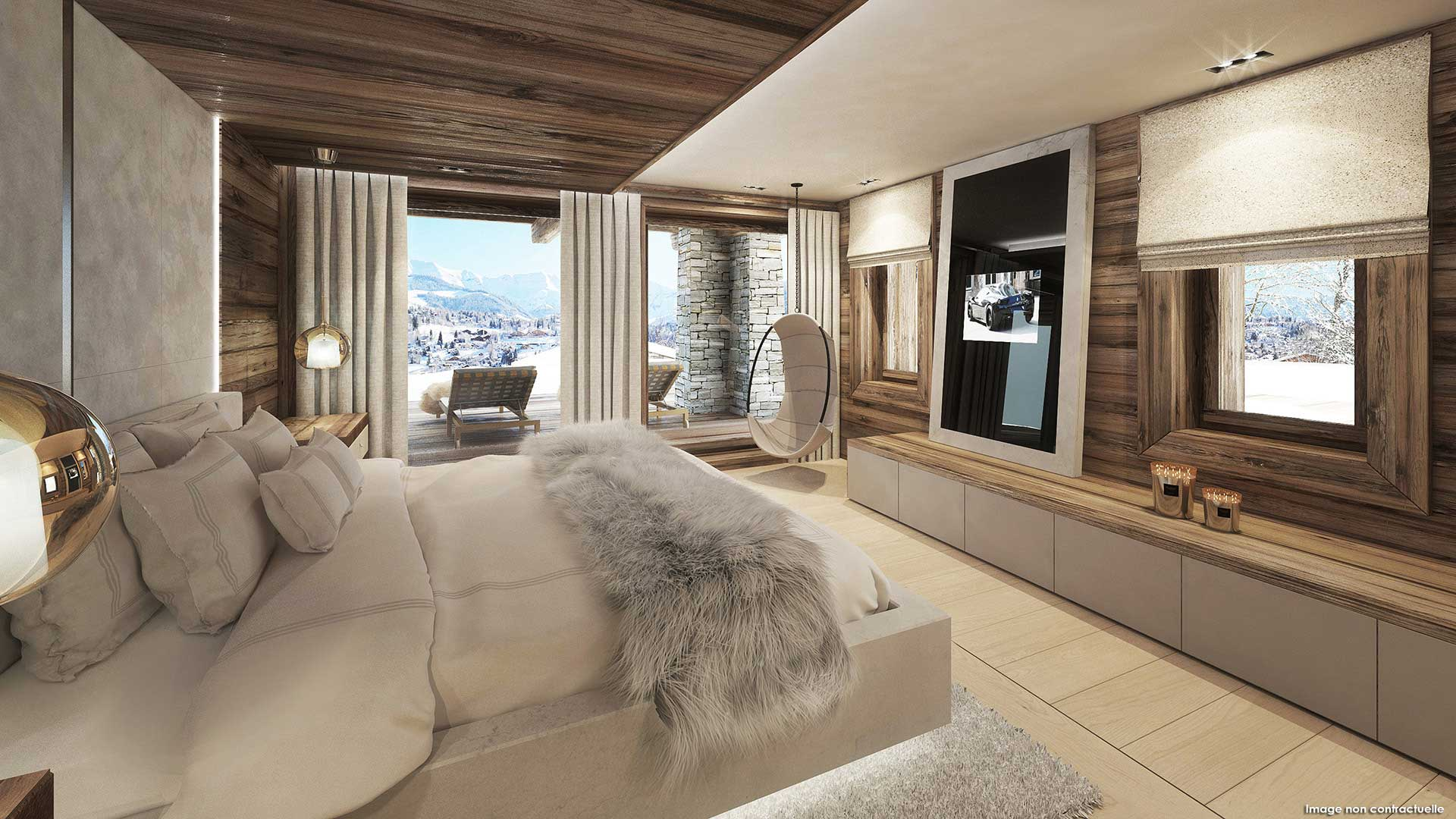 Creation of a 3D perspective of the room of a luxurious chalet.