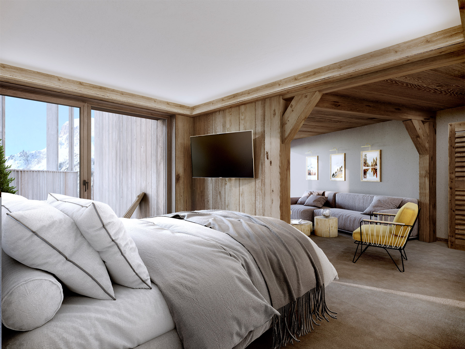 3D image of a hotel room in a mountain chalet