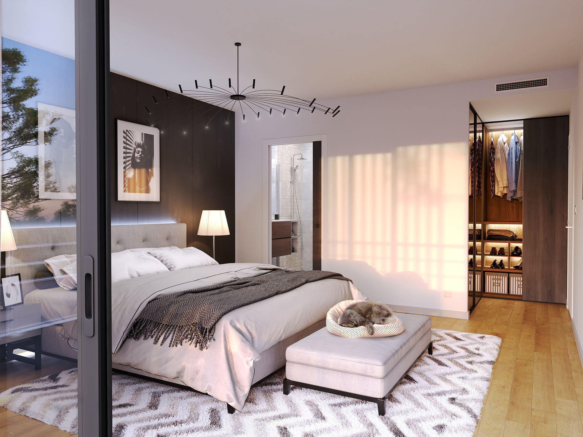 3D perspective of a room in a new apartment in Carqueiranne