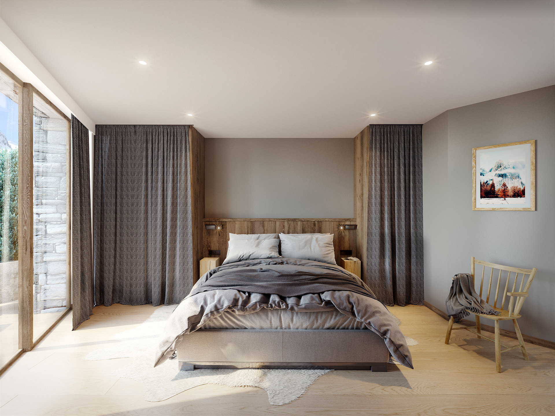 3D visualization of a modern bedroom in a chalet