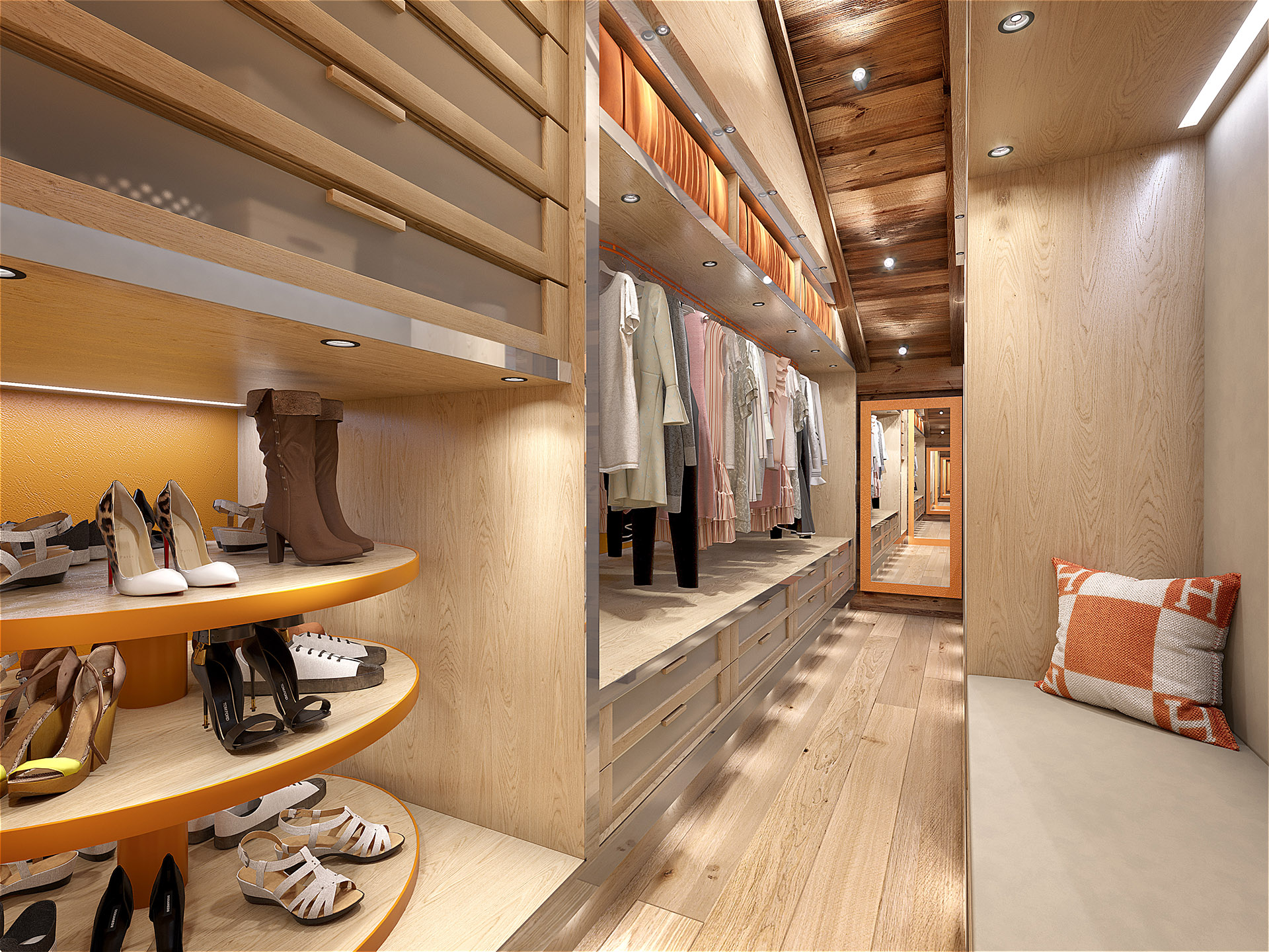 3D visualization of a luxury dressing room in a chalet