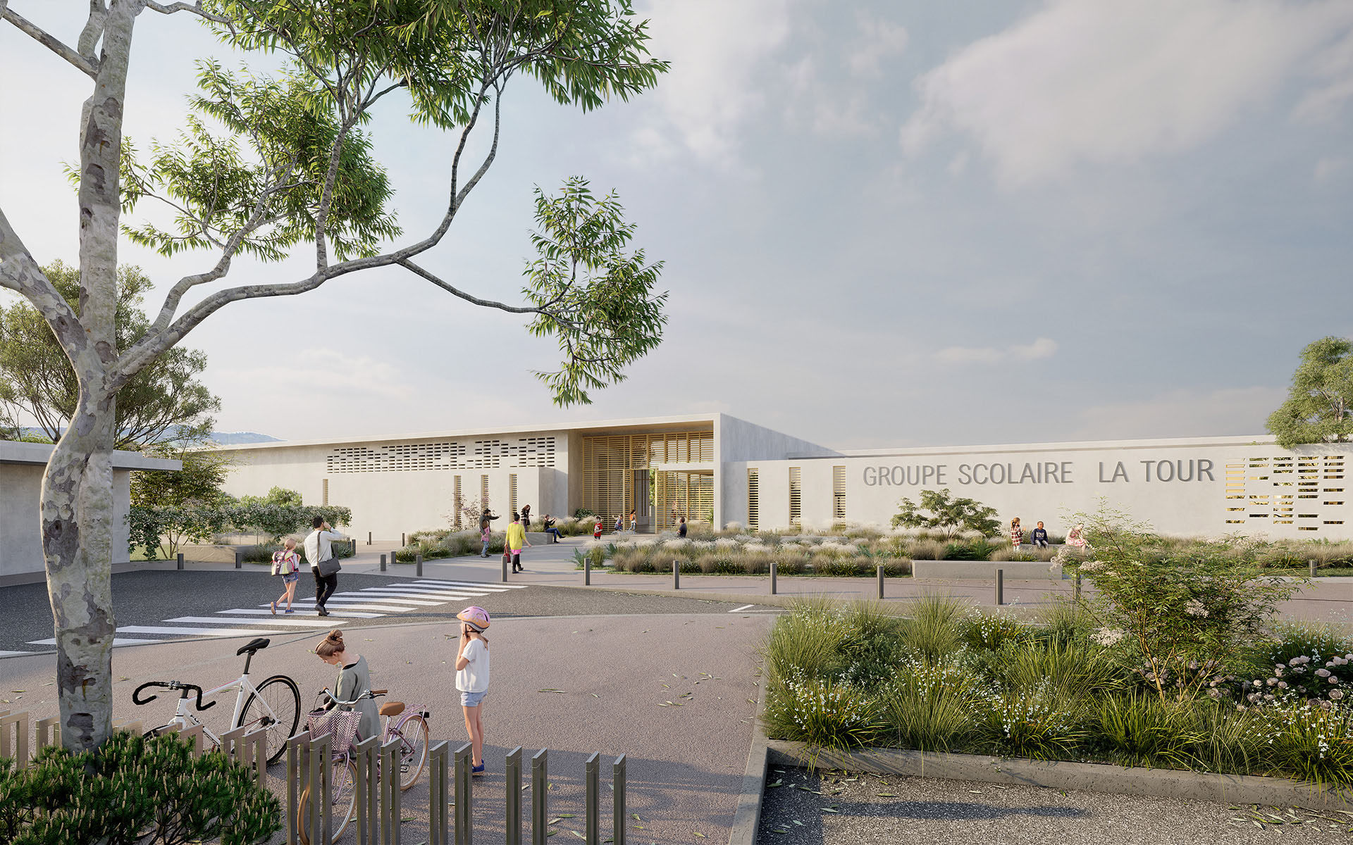 3D rendering of a school and its pedestrian street