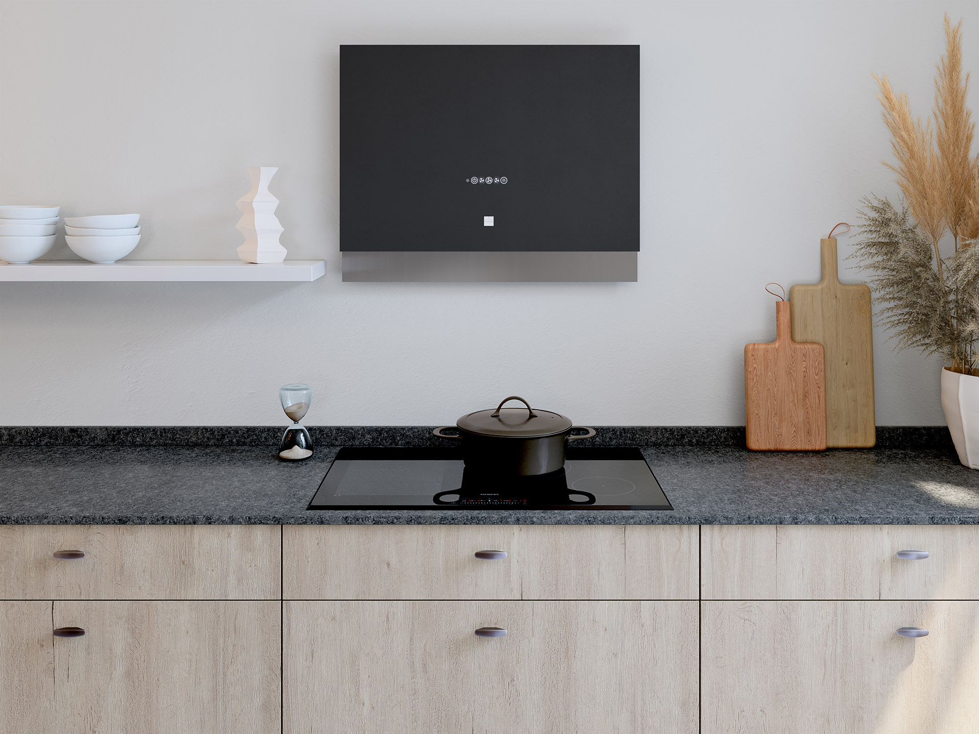 3D image of a modern kitchen worktop with cooktop and hood