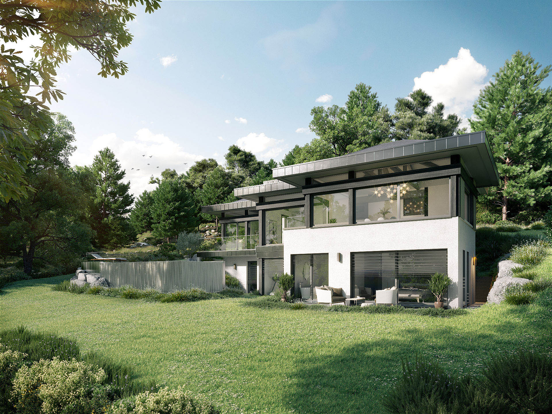 3D representation of a luxurious contemporary house