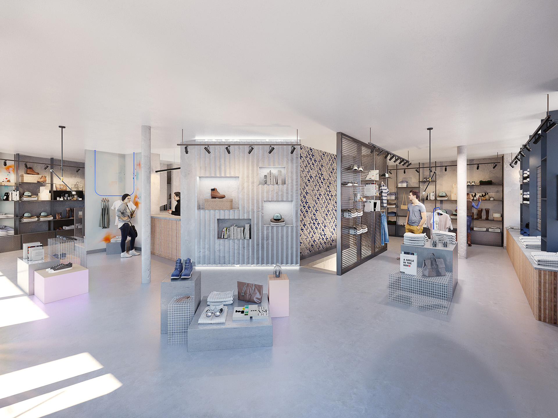 3D image of an industrial and design shoe store