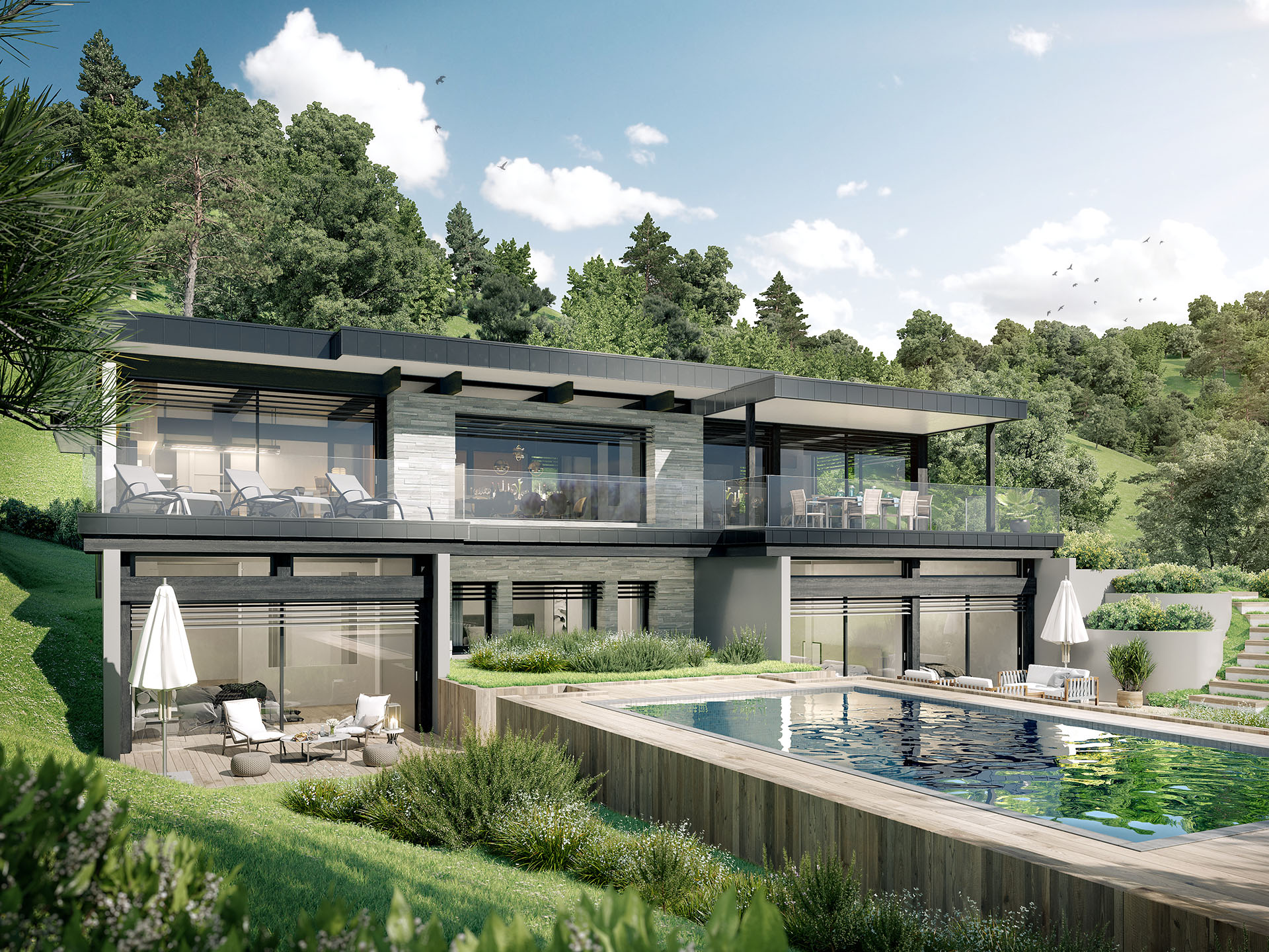 3D view of a modern and luxurious detached house with swimming pool