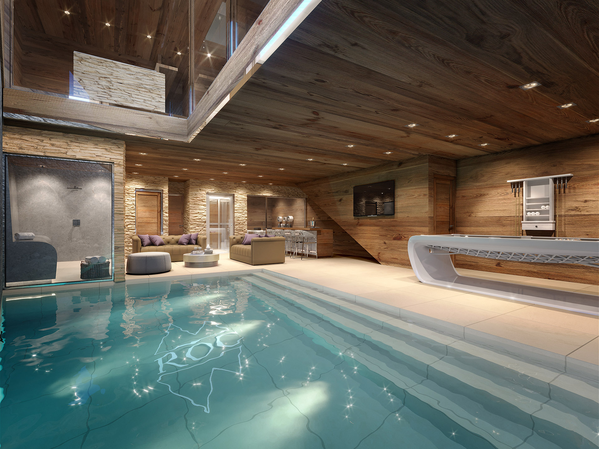 Photorealistic 3D representation of an indoor pool in a luxury chalet