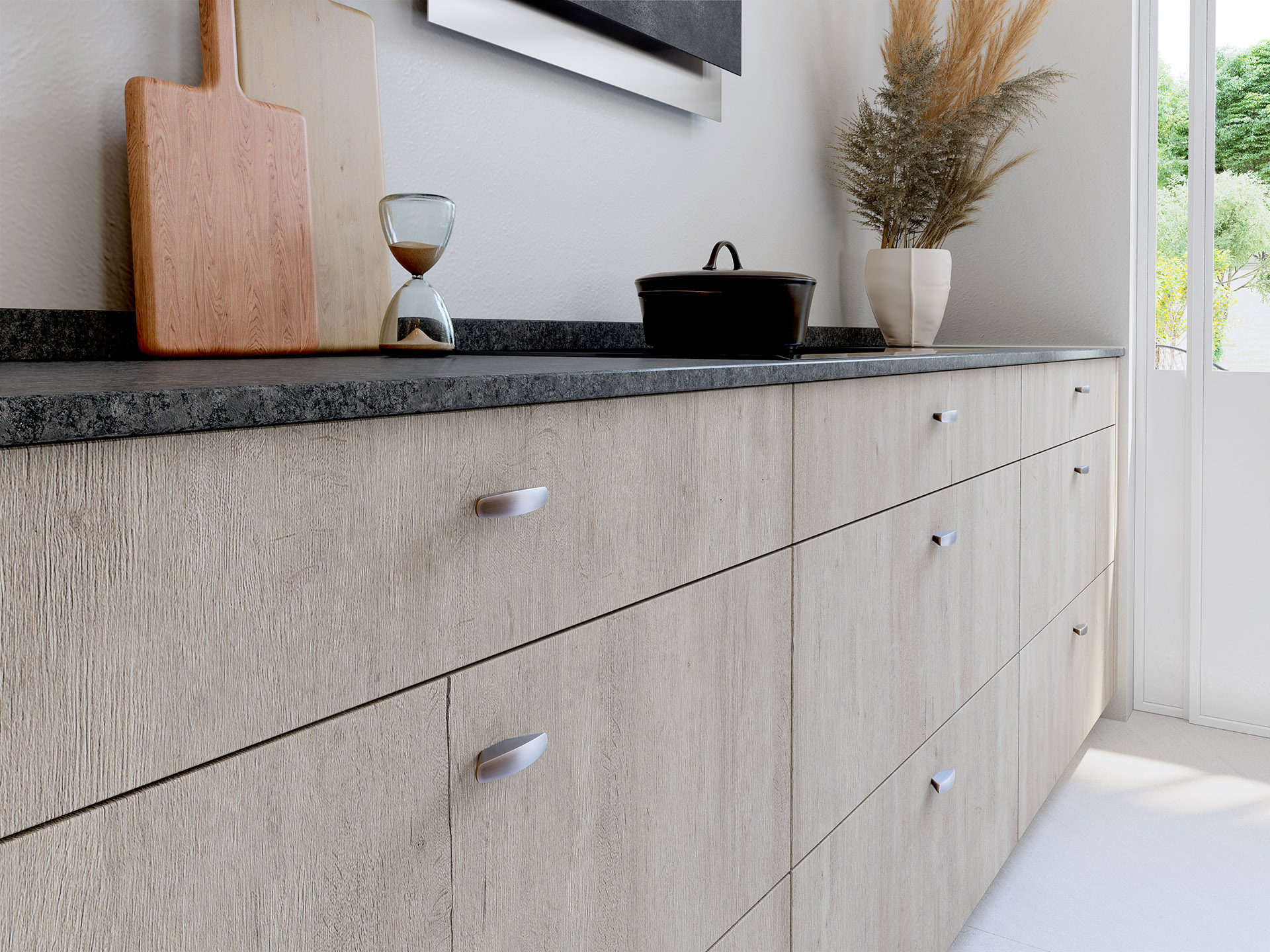 3D image of modern wooden kitchen cabinets
