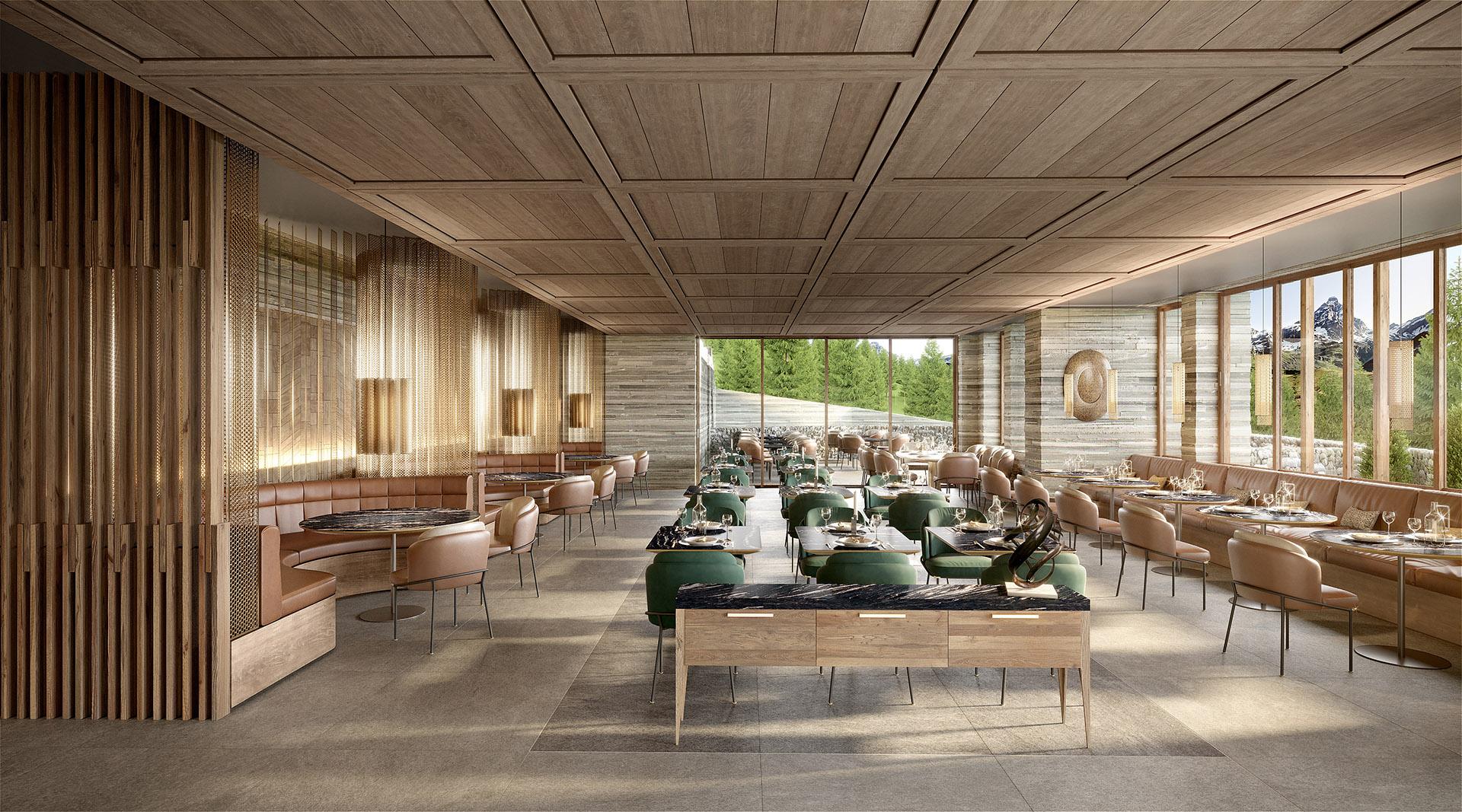 3D Archviz of a luxury restaurant in Switzerland