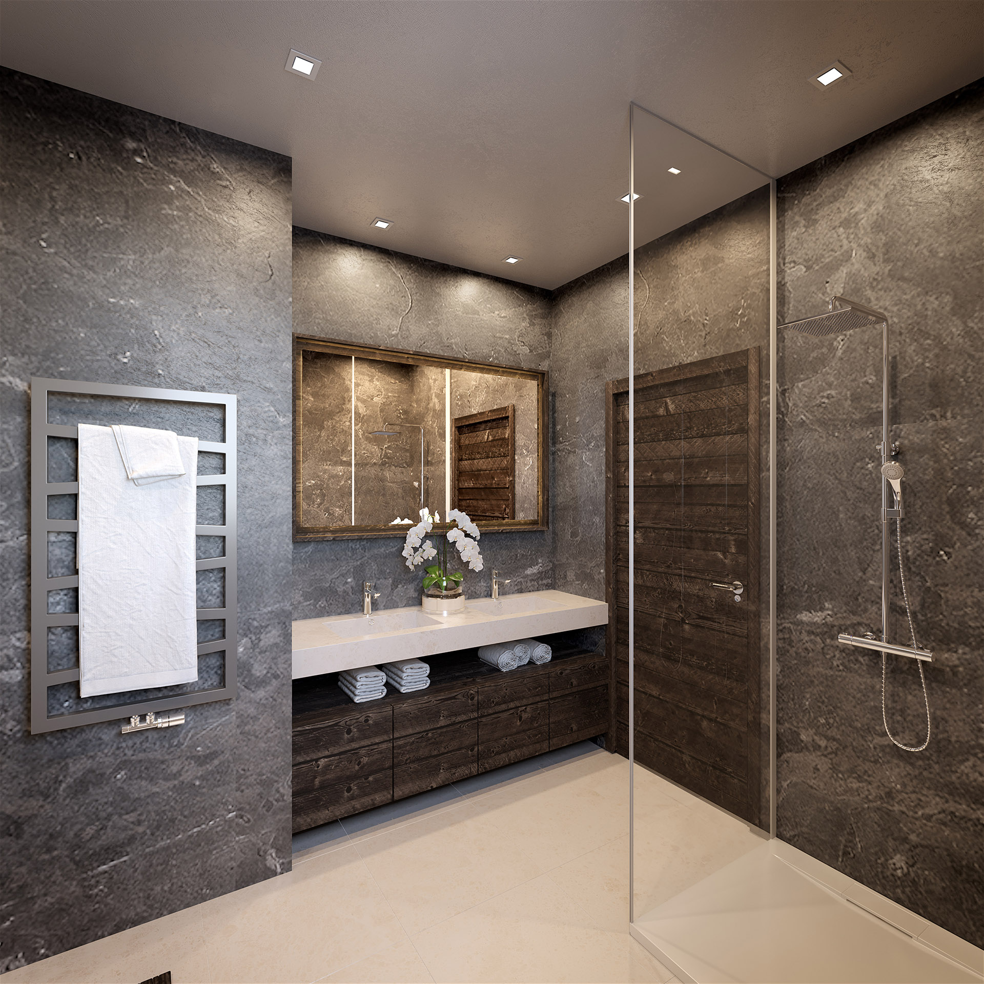 3D visualization of a luxurious bathroom in a chalet