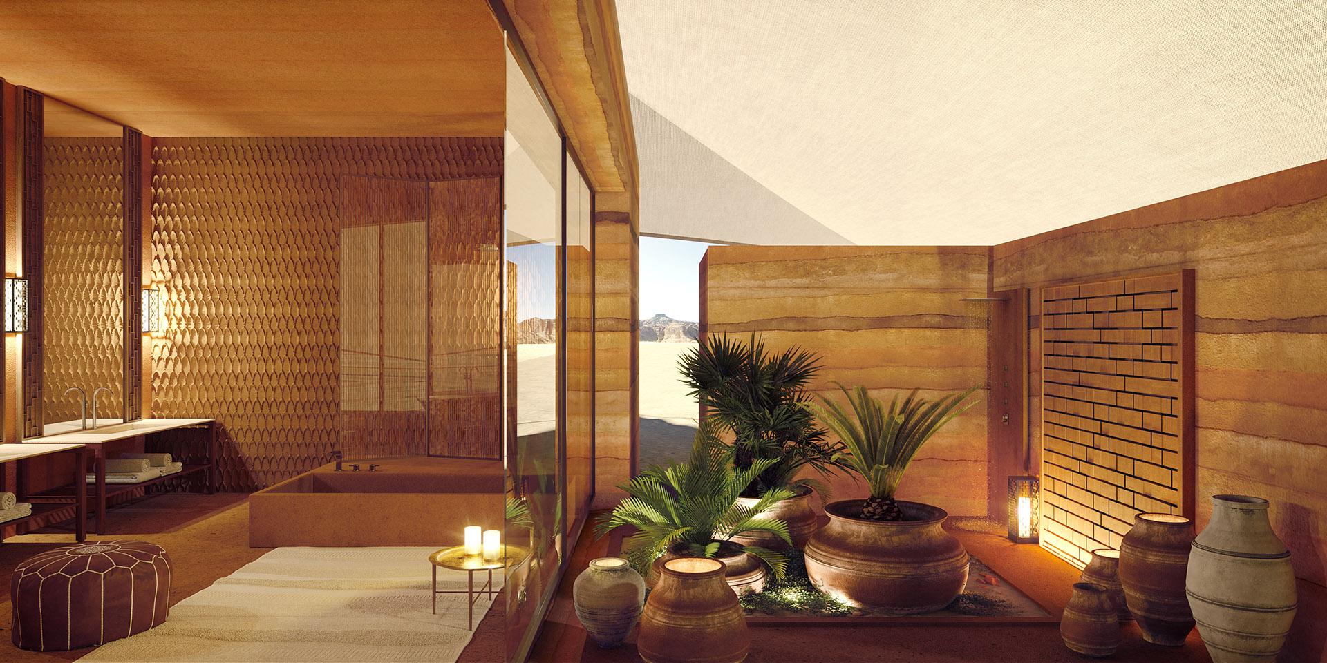 3D rendering of a luxury bathroom in a Moroccan villa