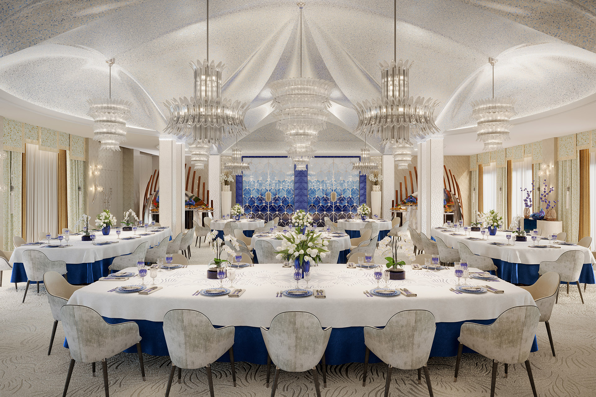 Grand dining room created by 3D graphic designers