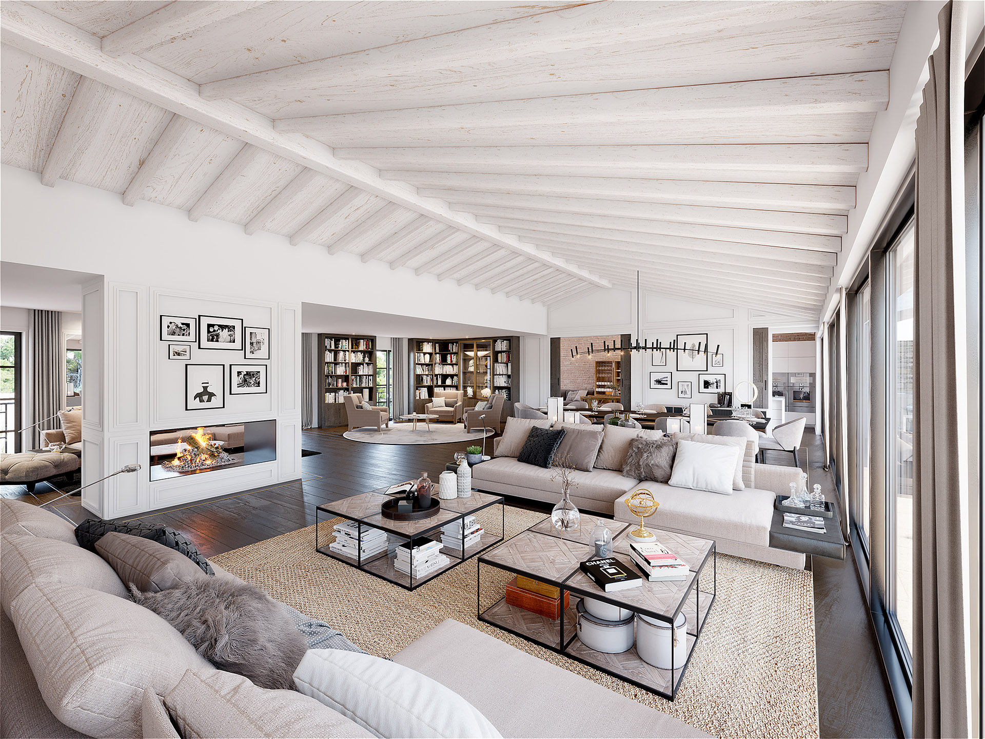 3D rendering of a modern and contemporary living room