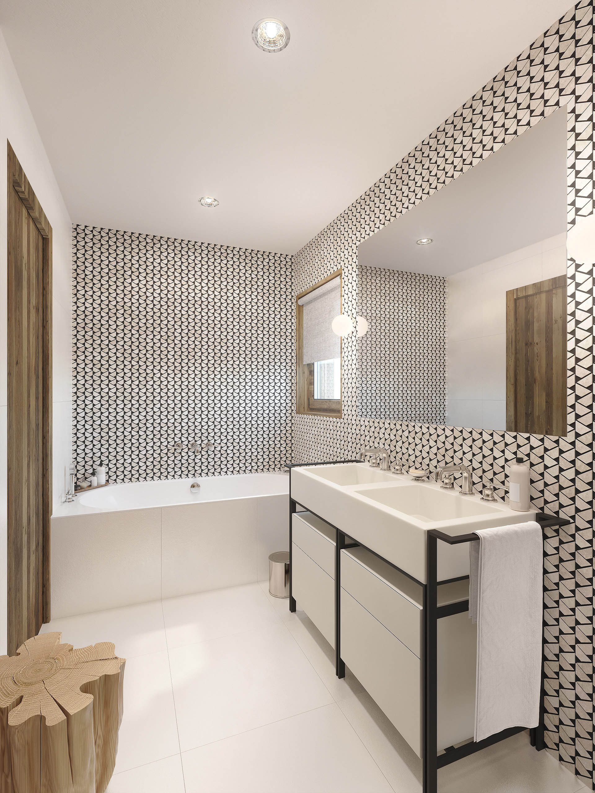 Modern 3D bathroom in a mountain chalet