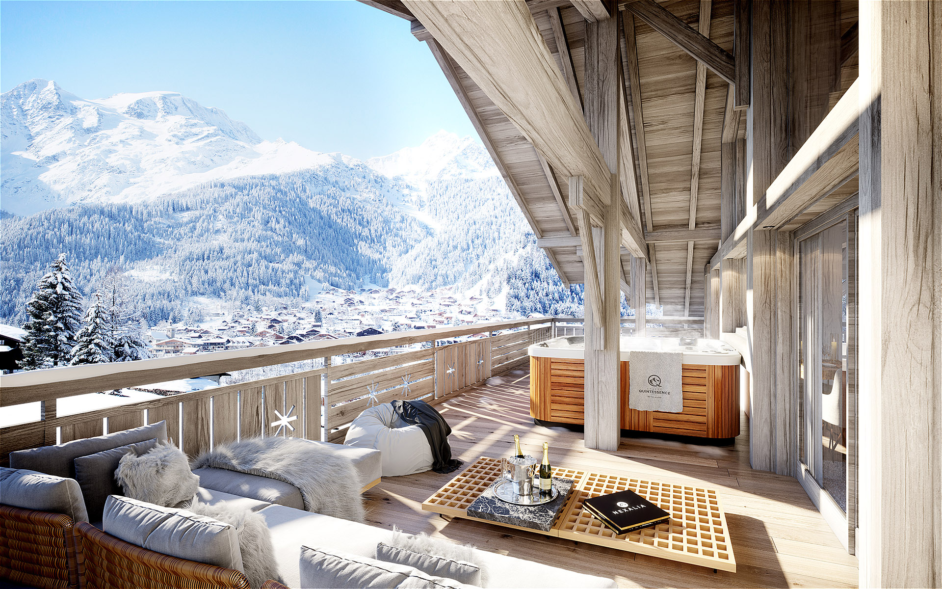 3D computer generated image of a chalet terrace with mountain view and spa