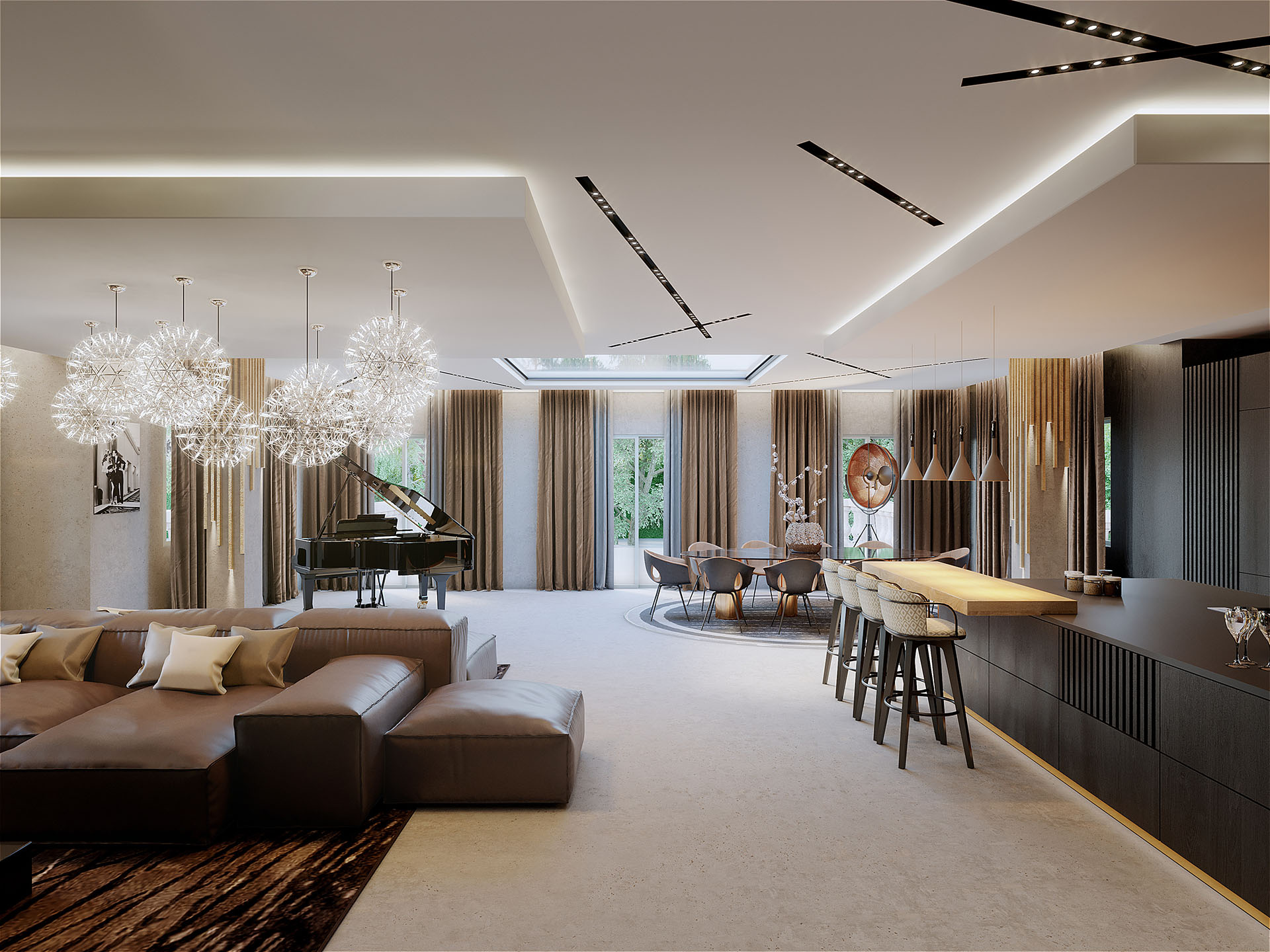3D photorealistic image of the living room of a luxury villa