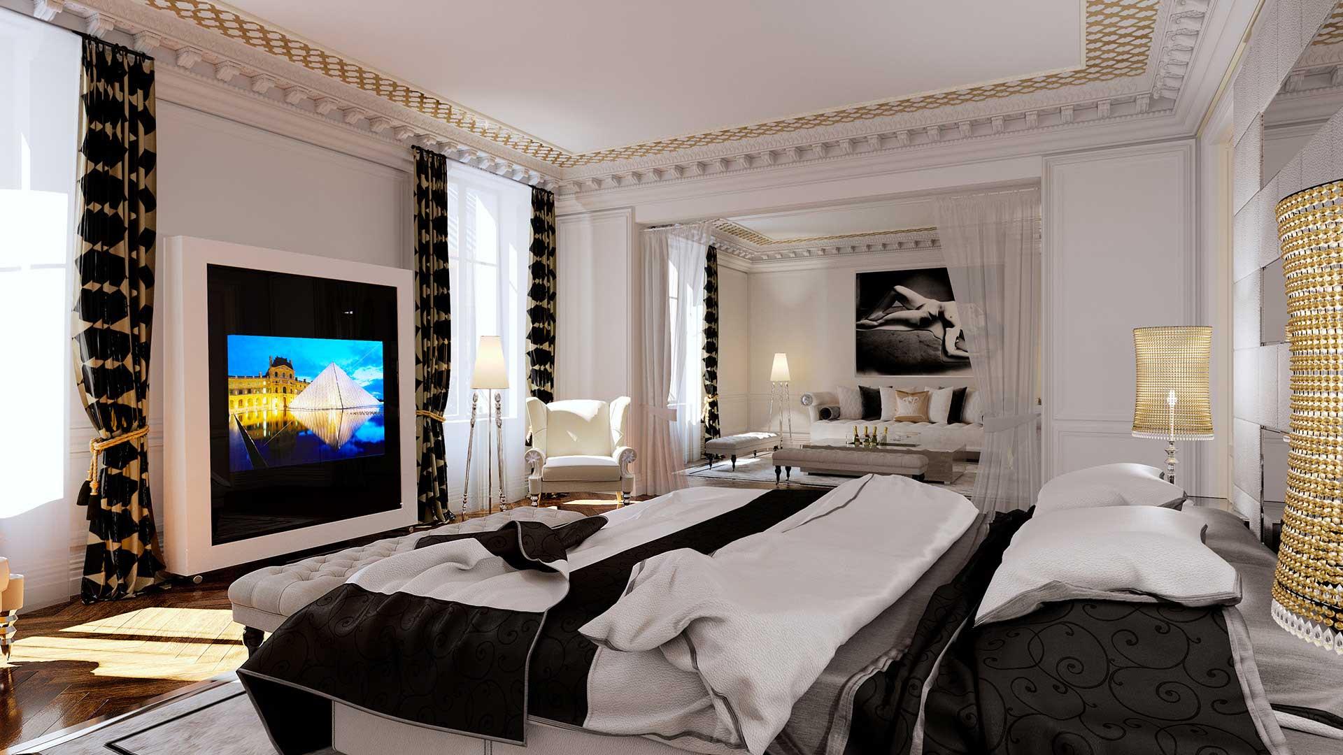 Agence création visuels 3D pour projet architecture : photo 3D appartement Haussmann