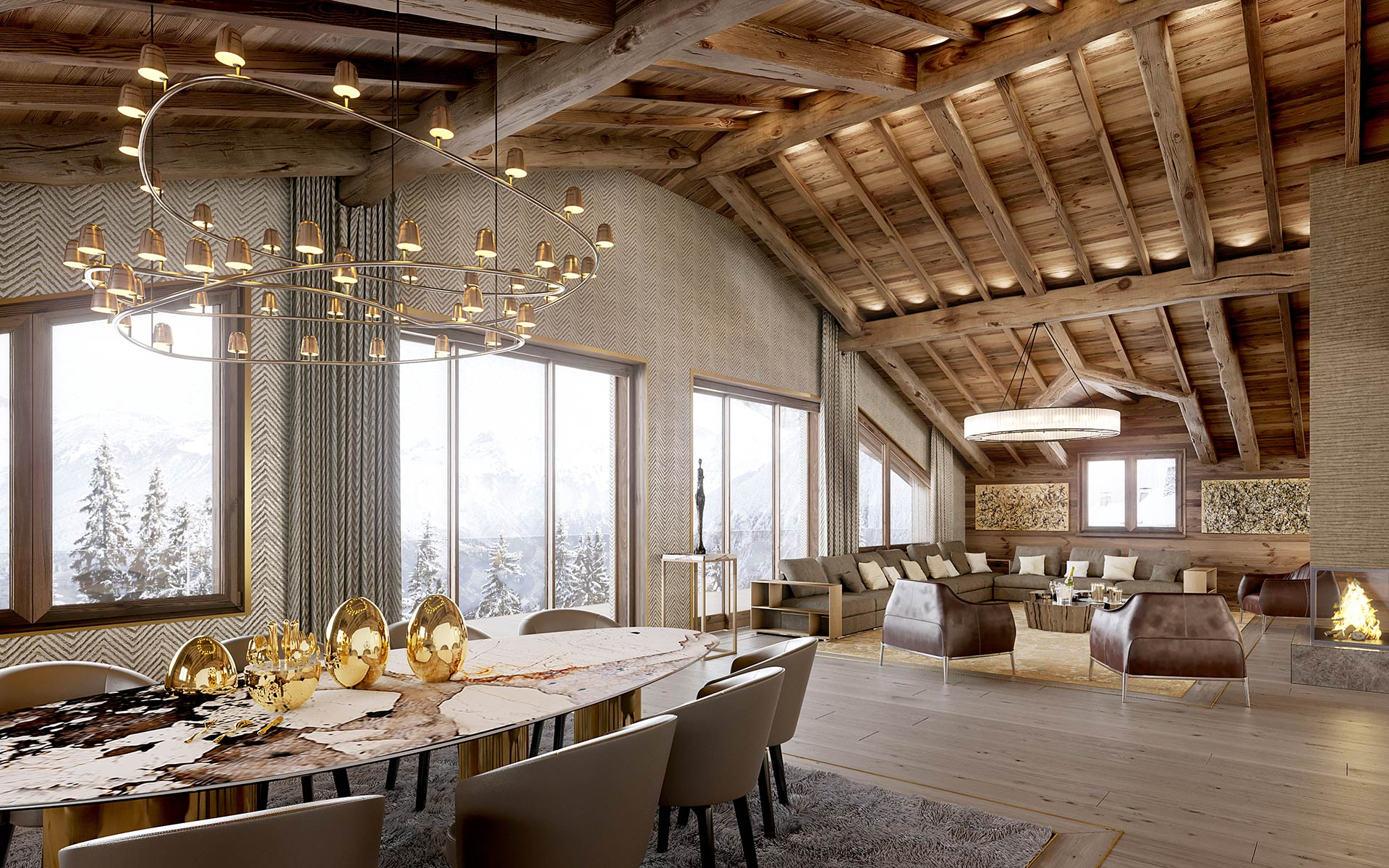 3D Render of an interior of a luxury chalet living-room