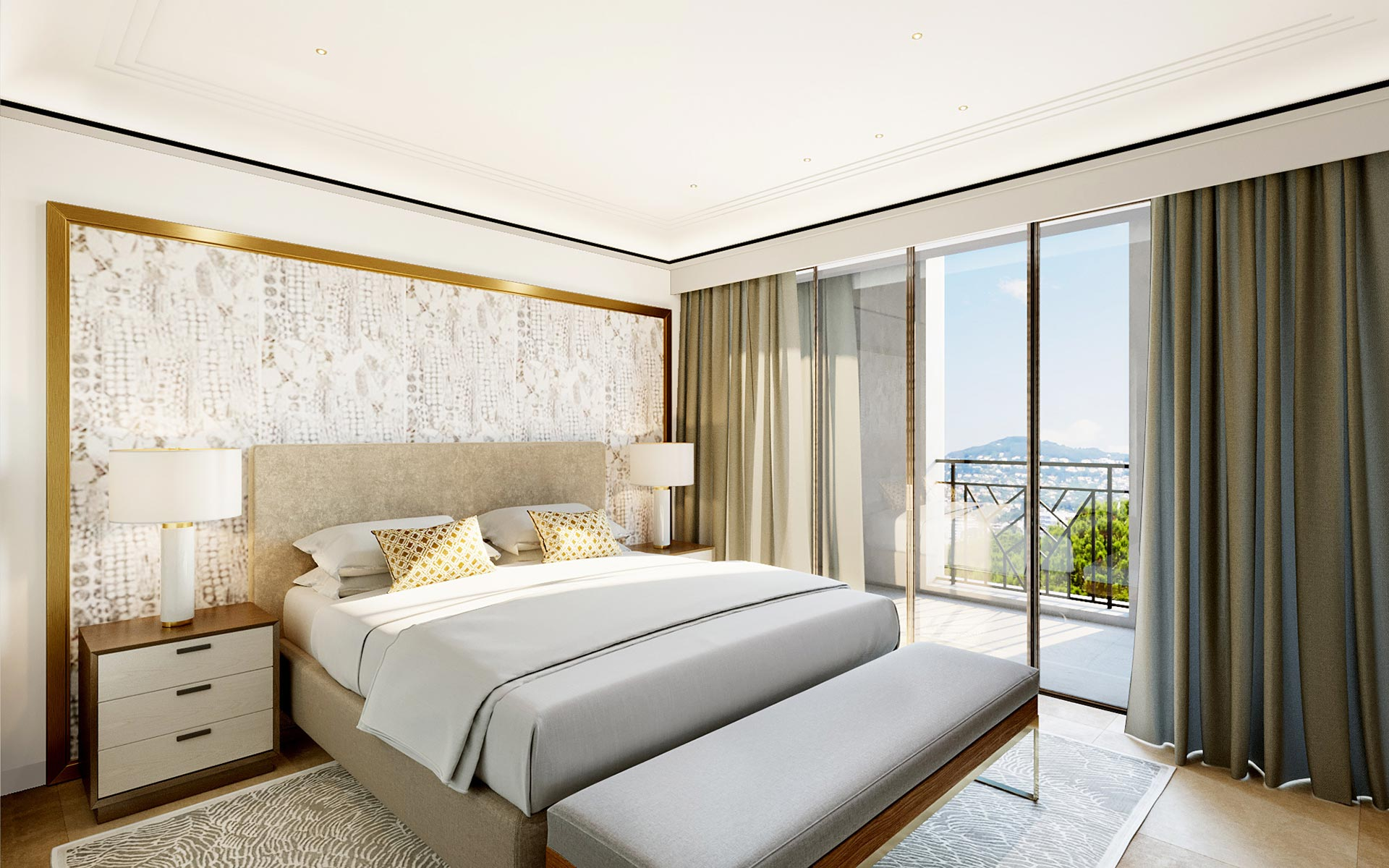 3D real estate development image of a bedroom for a luxury project