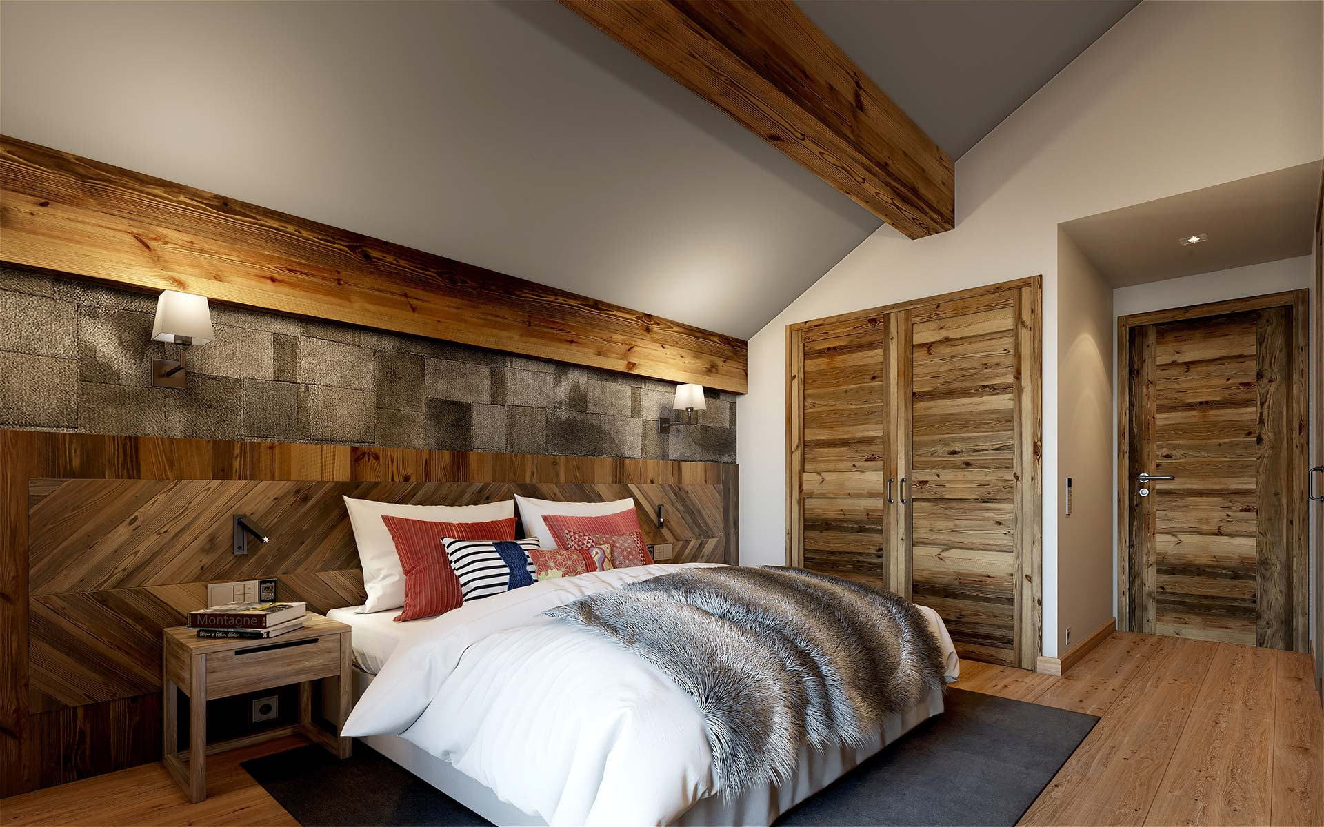 3D perspective of a bedroom in a luxury chalet in Chamonix