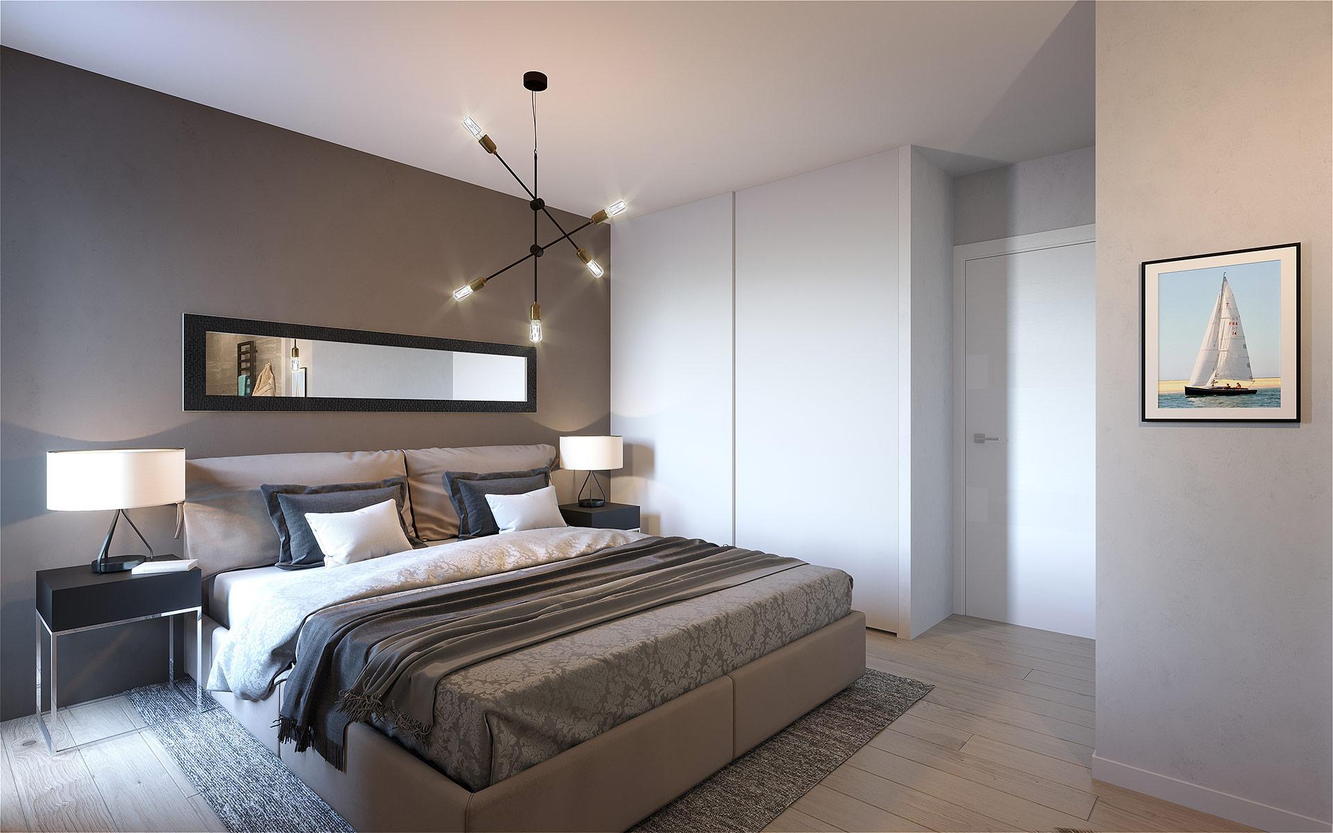 3D bedroom render for real-estate development