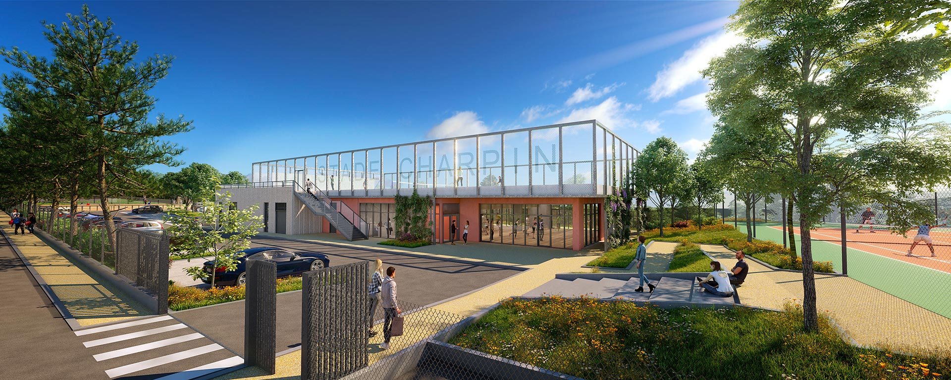 Sports centre 3D exterior architectural visualization for a contest