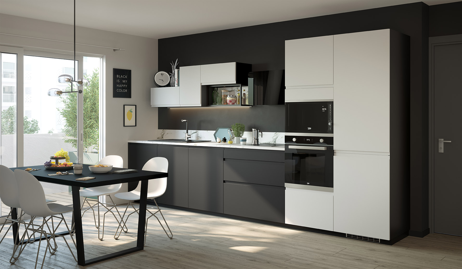 3D interior visualization of a kitchen set