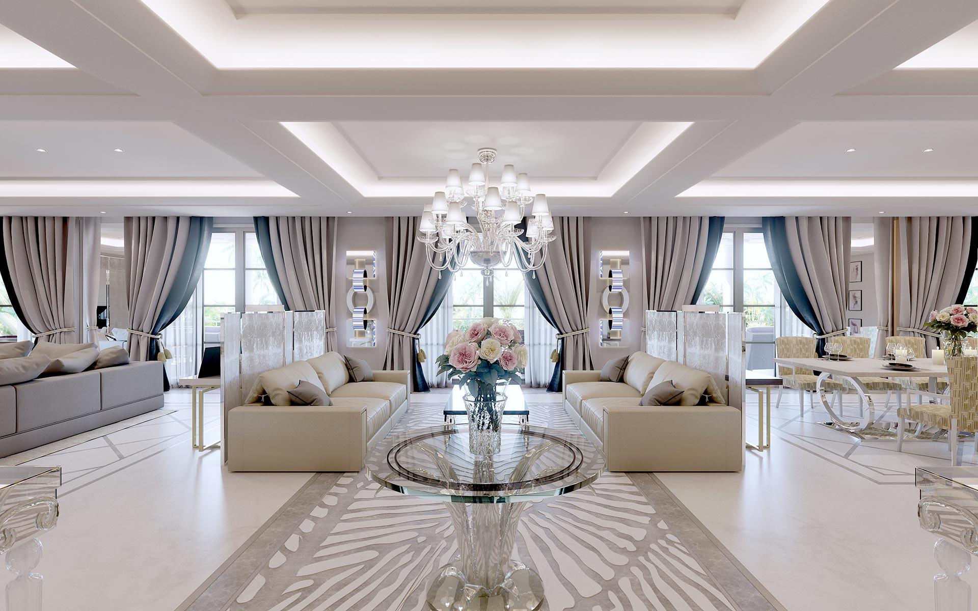 3D View of a luxury villa interior