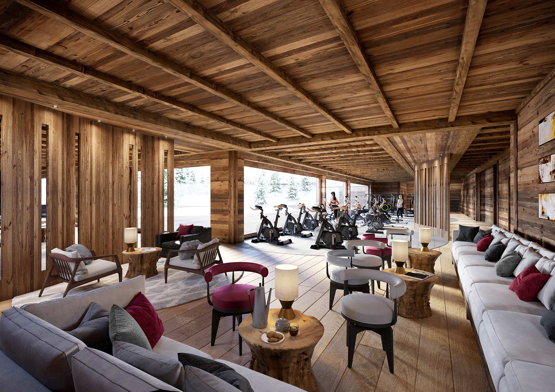 3D Fitness room render in a mountain hotel