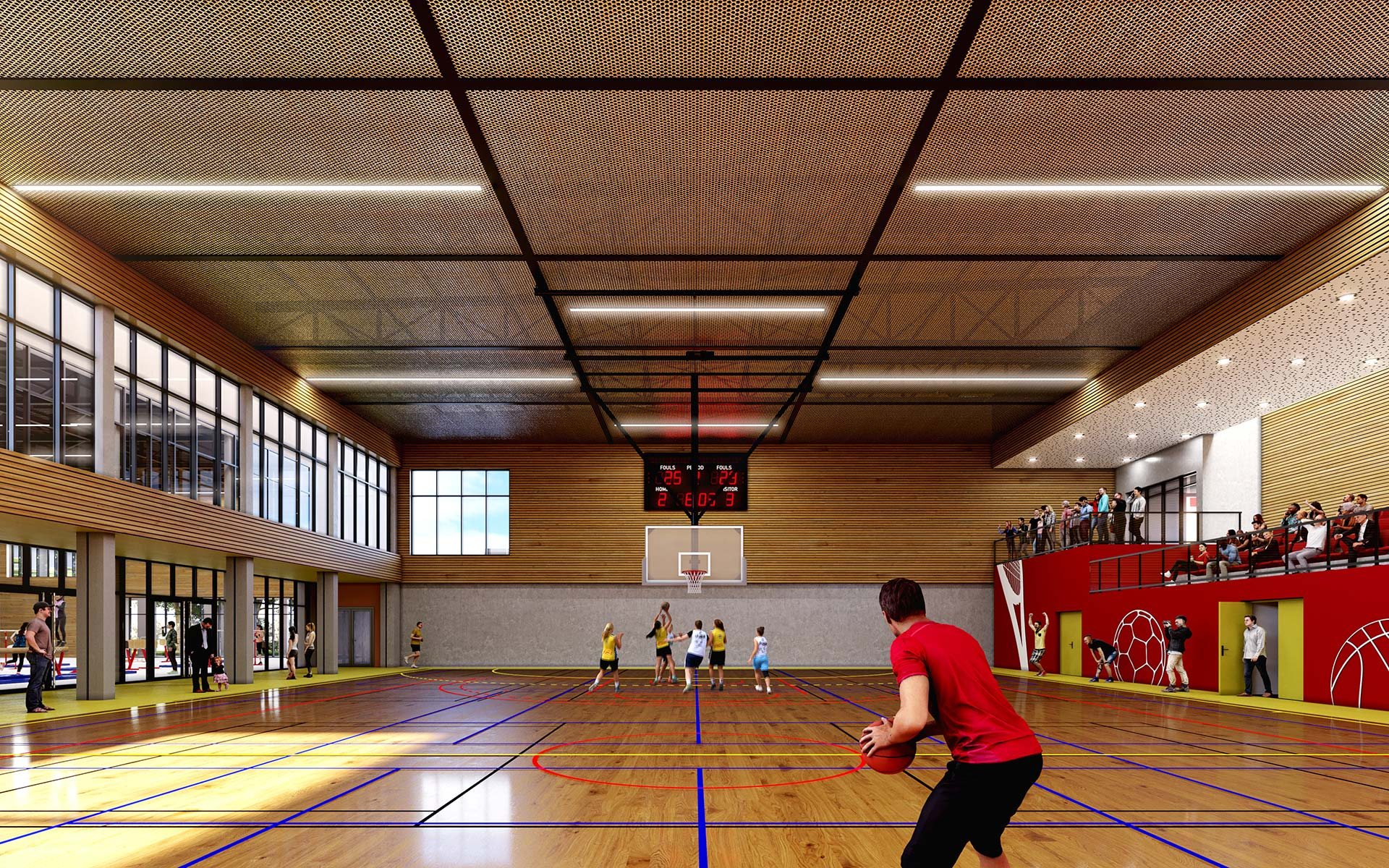 Interior 3D perspective of a big sports hall basketball competition