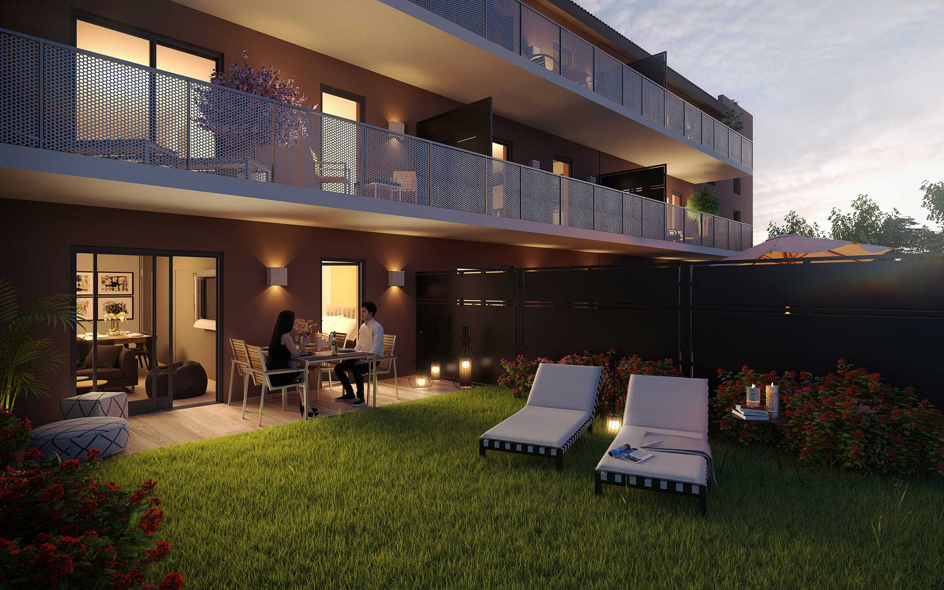 3D Perspective of a building and a night garden - real estate promotion.