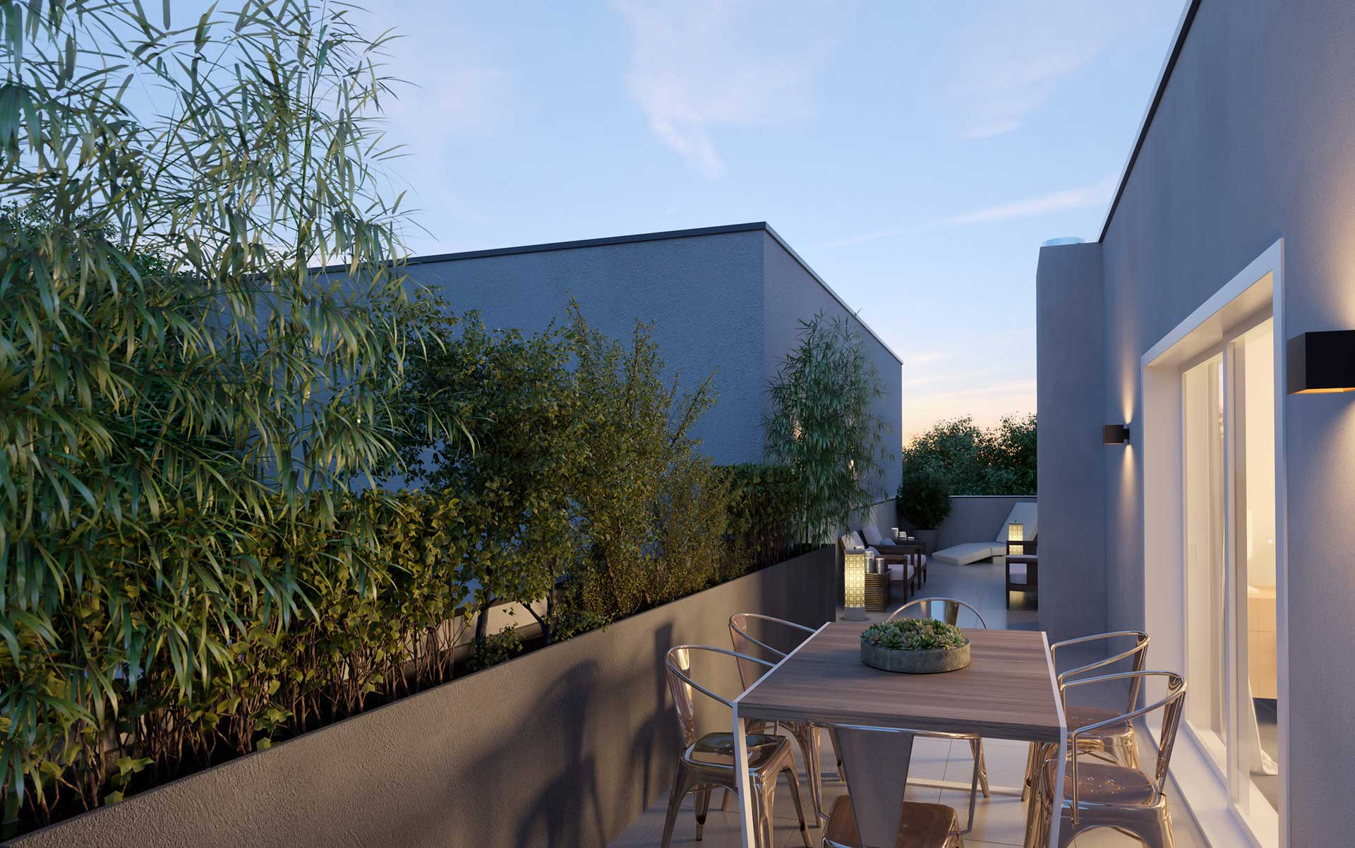 3 dimensional terrace - 3D rendering real estate project.