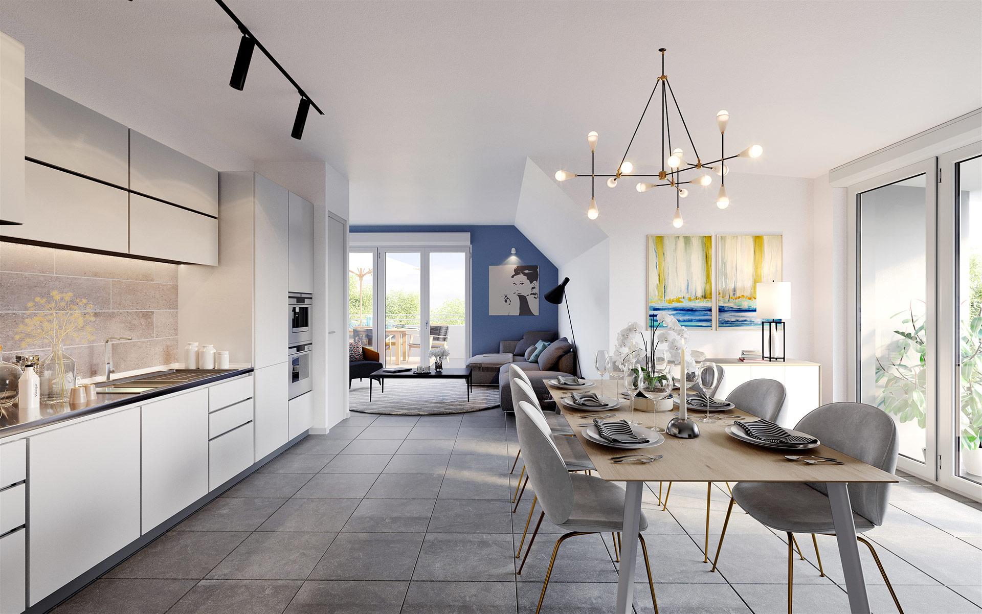 3D interior render of a new apartment for real estate development - 3D studio